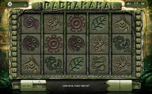 Pachamama Review Slots Main game board based on an Aztec theme, featuring five reels and 25 paylines with a $500,000 max payout