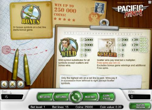 Pacific Attack Review Slots bonus, wild and scatter paytable