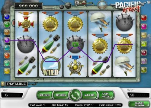 Pacific Attack Review Slots three of a knd triggers a 50 coin jackpot