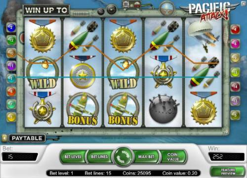 Pacific Attack Review Slots 252 coin  big win jckpot triggered by multiple winning paylines