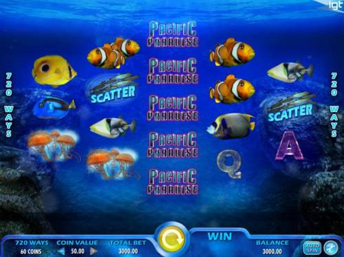 Pacific Paradise Review Slots Main game board featuring five reels and 720 ways to win with a $250,000 max payout