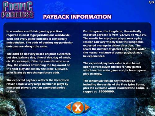 Pacific Paradise Review Slots Payback Information - The RTP for this game is 92.42% to 96.43%