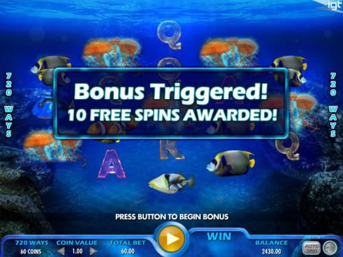 Pacific Paradise Review Slots Bonus triggered by Five jellyfish symbols across all reels awarding 10 free spins.