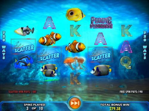 Pacific Paradise Review Slots Three scatter symbols lead to a big win during the free spins feature.