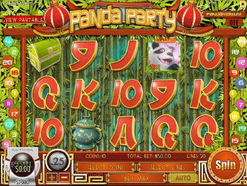 Panda Party Review Slots Main game board featuring five reels and 20 paylines with a $750,000 max payout