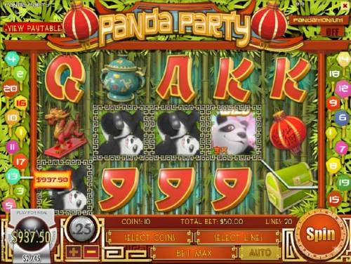 Panda Party Review Slots A four of a kind triggers a $937.50 jackpot win