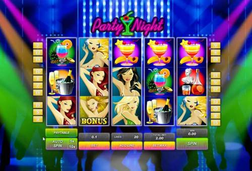 Party Night Review Slots main game board featuring five reels and twenty paylines