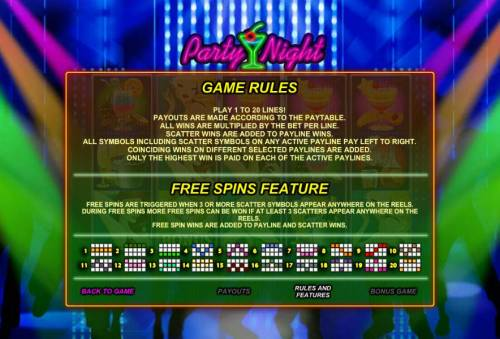 Party Night Review Slots game rules, free spins feature and payline diagrams
