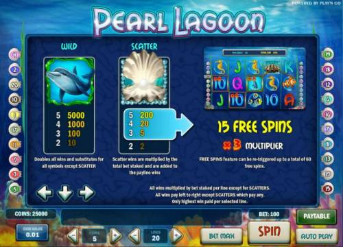 Pearl Lagoon Review Slots wild, scatter and free spins paytable