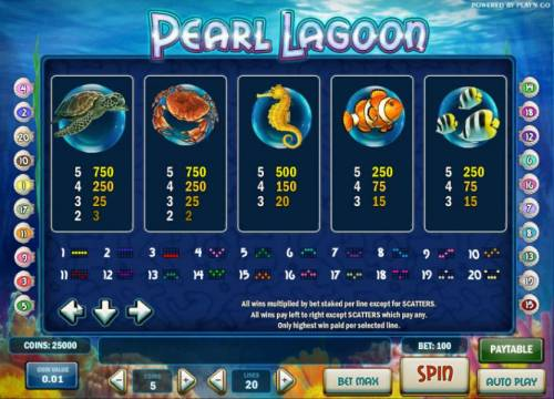 Pearl Lagoon Review Slots slot game symbols paytable