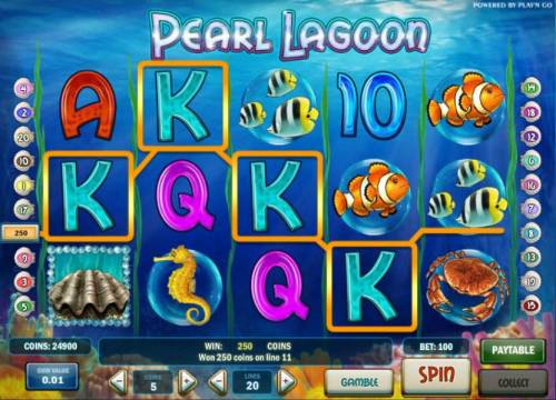 Pearl Lagoon Review Slots four of a kind triggers a 250 coin big win