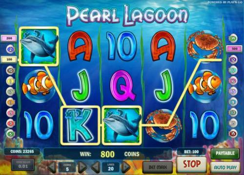 Pearl Lagoon Review Slots multiple winning paylines triggers an 800 coin big win payout