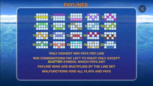 Penguin Vacation Review Slots Payline Diagrams 1-20. Only highest win pays per line. Win combinations pay left to right only except scatter symbol which pays any.