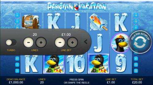 Penguin Vacation Review Slots Click on the side menu button to adjust the lines or coin value.