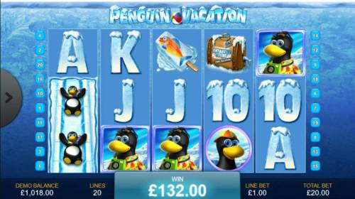 Penguin Vacation Review Slots Staked wild symbols on reel 1 triggers a 132.00 big win.