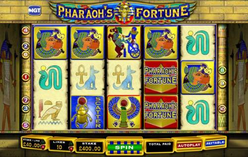 Pharaoh's Fortune Review Slots main game board featuring five reels and ten paylines