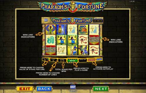 Pharaoh's Fortune Review Slots game controls