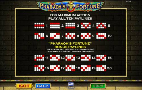 Pharaoh's Fortune Review Slots payline diagrams