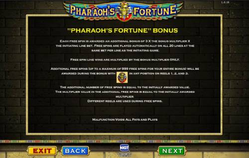 Pharaoh's Fortune Review Slots bonus game rules continued