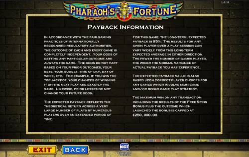 Pharaoh's Fortune Review Slots payback information