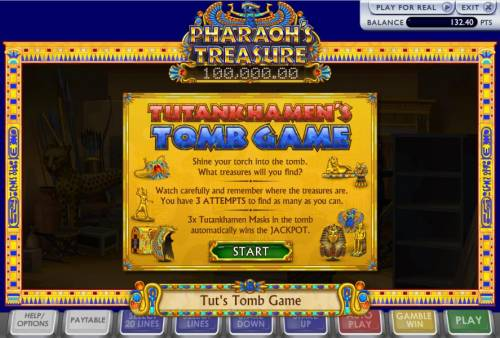 Pharoah's Treasure Review Slots Shine your torch into the tomb. What treasures will you find? Watch carefully and remeber where the treasures are. You have 3 attempts to find as many as you can.