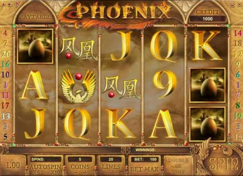 Phoenix Review Slots main game board featuring five reels and twenty paylines