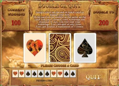 Phoenix Review Slots double or quit gamble feature - game board