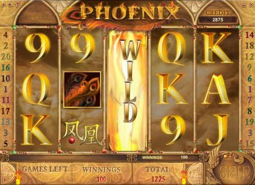 Phoenix Review Slots free spins feature pays out a 1225 coin big win
