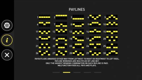 Phoenix Review Slots Payline  Diagrams 1-30. Payouts are awarded from left to right reel. Payline winnings are multiplied by line bet. Only highest winning combination on each payline paid.