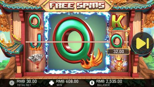 Phoenix Review Slots Mega symbols are added to the reels during the free games feature.