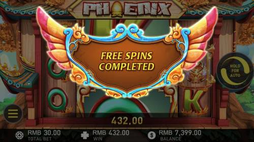 Phoenix Review Slots Free Games feature triggers a mega win at the completion of the free games.