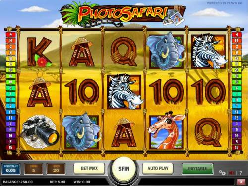 Photo Safari Review Slots main game board featuring five reels and twenty paylines with a 10000x max payout