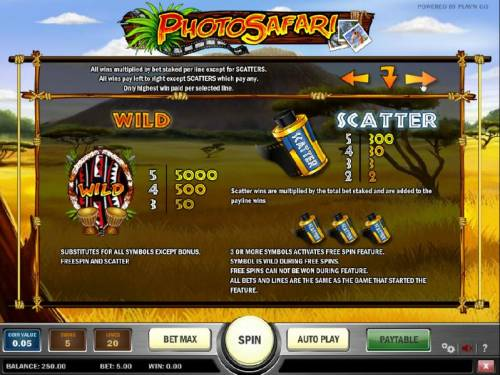 Photo Safari Review Slots how to play wild and scatter with paytables