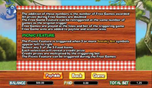 Picnic Panic Review Slots picnic feature rules