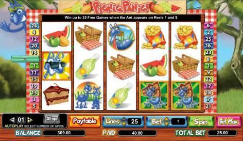 Picnic Panic Review Slots 40 coin jackpot triggered by multiple winning paylines