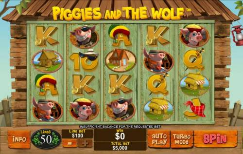 Piggies and the Wolf Review Slots Main game board featuring five reels and 50 paylines with a $250,000 max payout