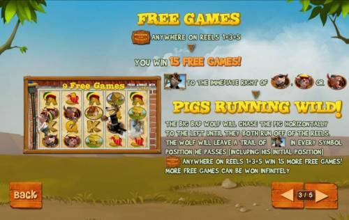 Piggies and the Wolf Review Slots Free Games are triggered when the game logo symbol appears on reels 1, 3 and 5, you are awarded 15 free games.