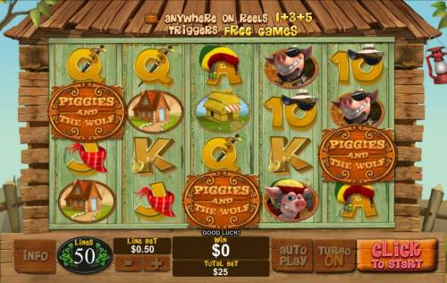 Piggies and the Wolf Review Slots Three game logo scatter symbols on reels 1, 3 and 5 triggers free games.