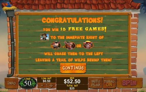 Piggies and the Wolf Review Slots 15 free games awarded