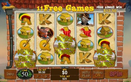Piggies and the Wolf Review Slots Free games can be re-triggered during the free games feature
