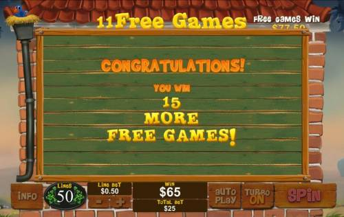 Piggies and the Wolf Review Slots An additinal 15 free games are added to the free game feature total