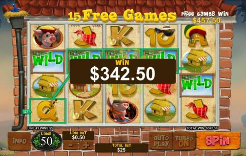 Piggies and the Wolf Review Slots Multiple winning paylines triggered during the free games feature pays out $342.50