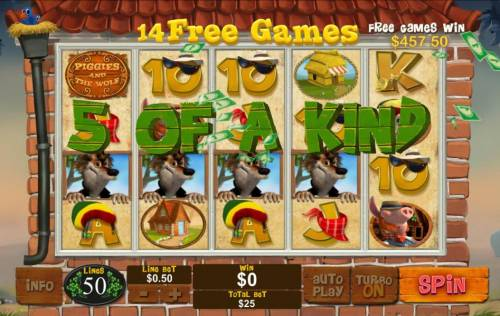Piggies and the Wolf Review Slots Five of a kind triggered during free game play