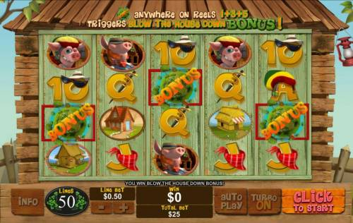 Piggies and the Wolf Review Slots Bonus feature triggered by three bonus symbols on reels 1, 3 and 5