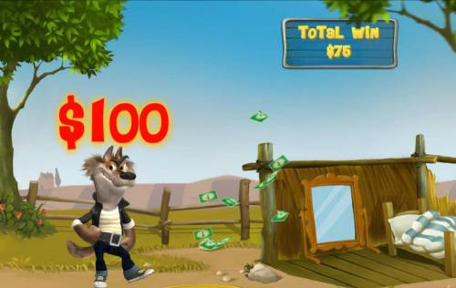 Piggies and the Wolf Review Slots The wolf is successful at blowing the house down on the 2nd attempt and a $100 cash prize is awarded.