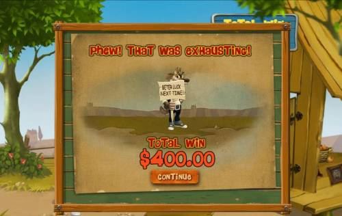 Piggies and the Wolf Review Slots Phew! That was exhausting! Total win $400.00