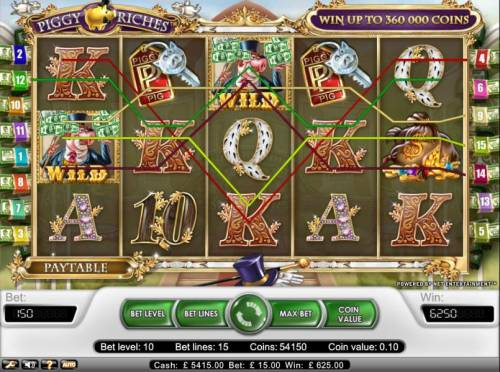 Piggy Riches Review Slots five pay line jackpot for 6250 coins