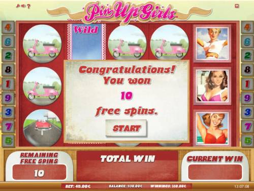 Pin Up Girls Review Slots Lanind an expanded wild on reels 2, 3 and 4 awards 10 free games.