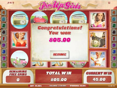 Pin Up Girls Review Slots The free games feature pays out a total of 805.00 in addition to the bonus winnings.