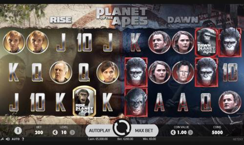 Planet of the Apes Review Slots Main Game Board